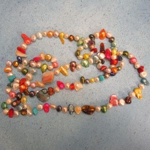 """40"""" Pearl Turquoise Coral Shell Convert. Necklace"""